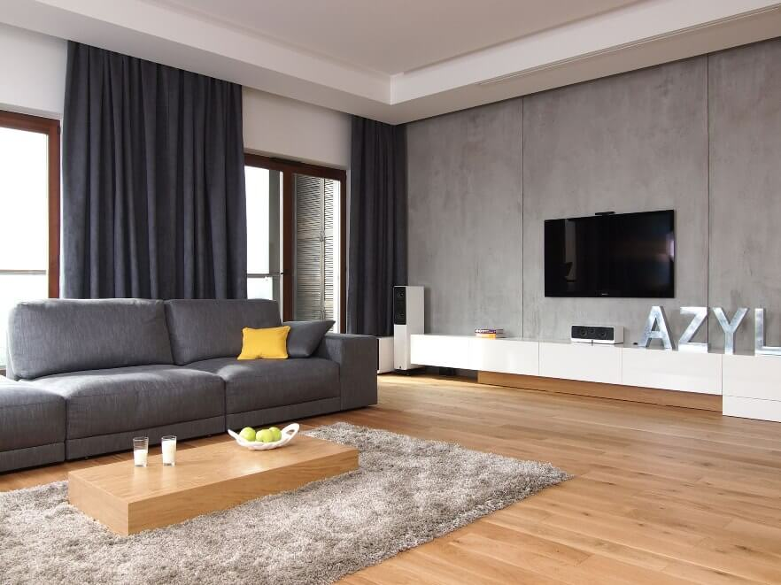 10 modern grey living room interior design ideas for Modern apartment living room decor
