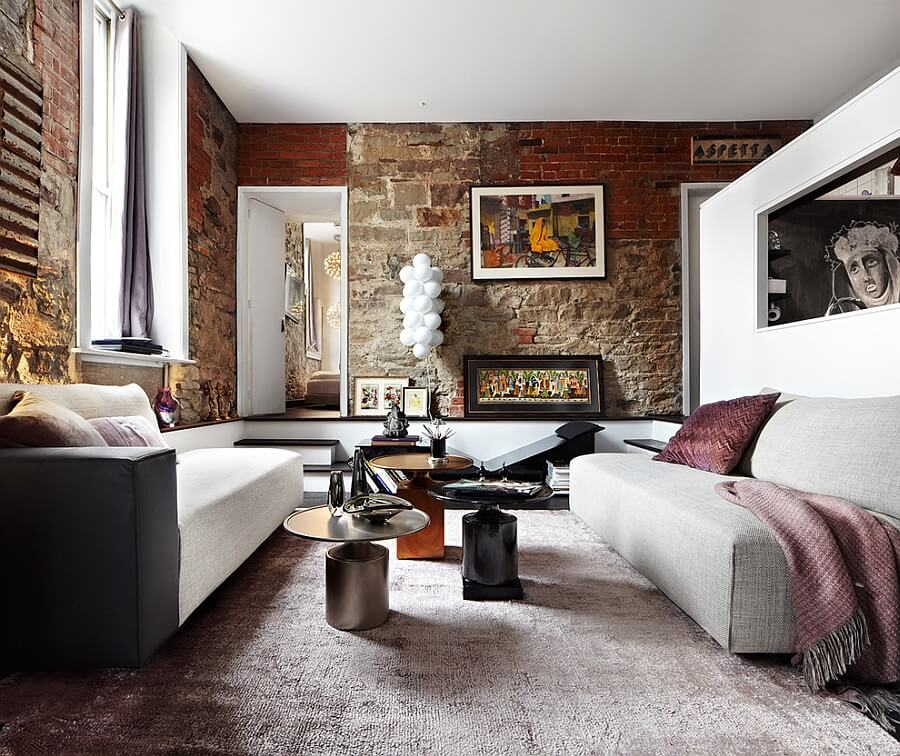 10 Brick Walls Living Room Interior Design Ideas