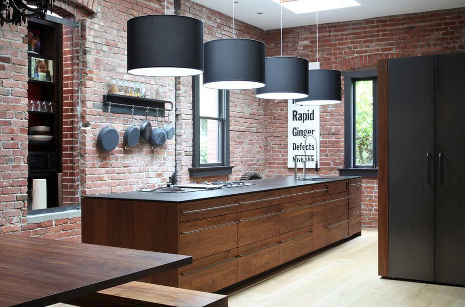 10 cool kitchen interior design ideas with brick walls for Exposed brick kitchen ideas