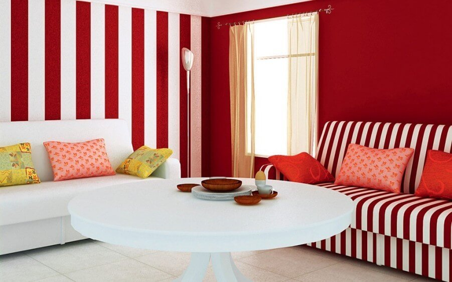 Red Striped Living Room