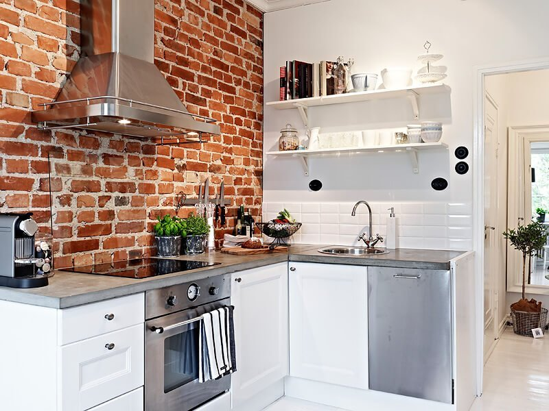 10 cool kitchen interior design ideas with brick walls - Small tv for kitchen wall ...