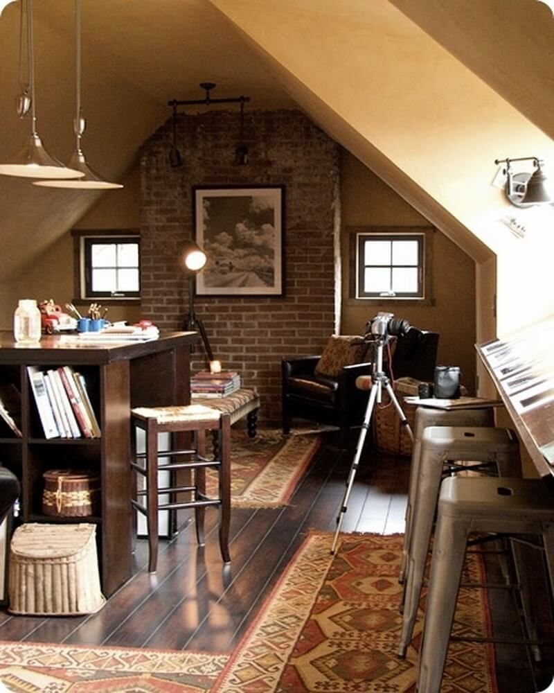 11 Cool Home Office Ideas For Men: 10 Cool Attic Home Office Interior Design Ideas