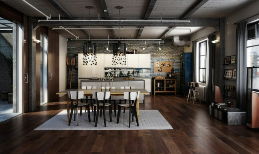 Designs With Industrial Dining Room And Open Plan Kitchen Design