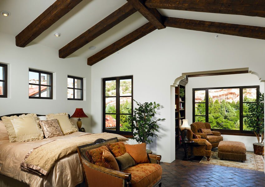 10 Bedroom Interior With Roof Beam Design Ideas
