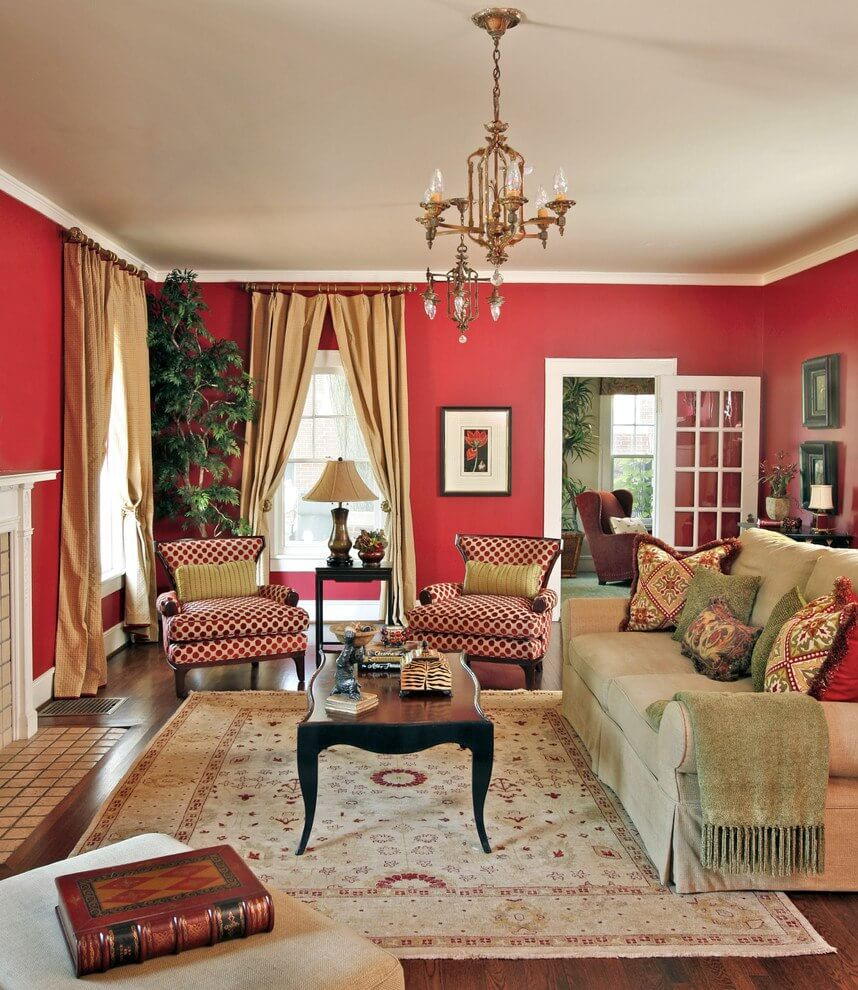 Best 11 marvelous red living room design ideas for Traditional living room