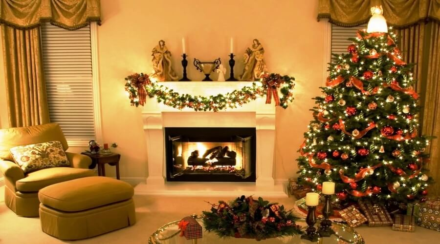 Christmas-Fireplace-Decorating-Ideas-Elegant-Christmas-Decorating-Ideas-Natural-Tree-Having-Beauty-Light-Ornament-Cute-Red-Ribbon-Feats-Gold-Colored-Balls-Sparkling-Lights-Adorable-Green-Wreath-
