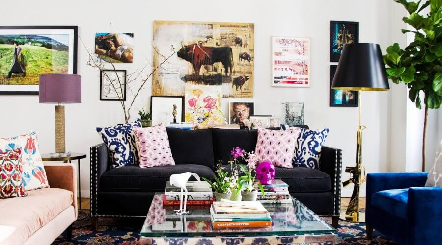 Patterned Accent Pillows in Eclectic Living Room