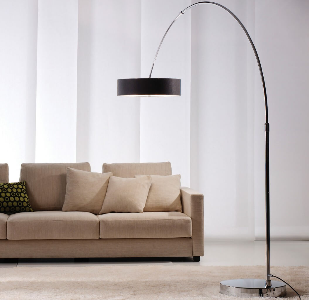 black shade arc floor lamp. Black Bedroom Furniture Sets. Home Design Ideas