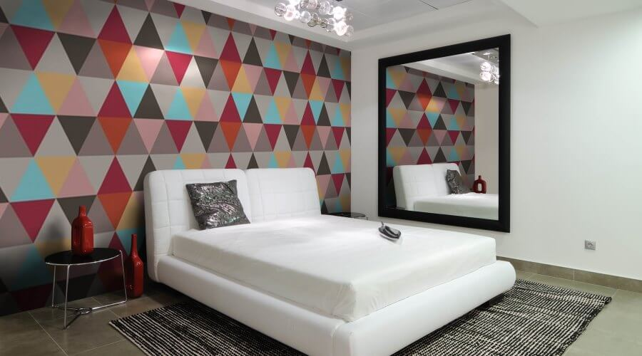 Minimalsit Bedroom with geomtric wallpaper