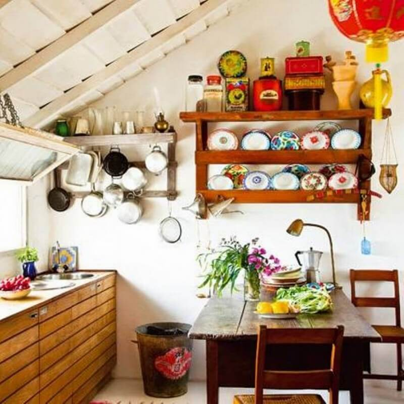 Small Farmhouse Kitchen Ideas With Open Shelves With Racks And Wooden