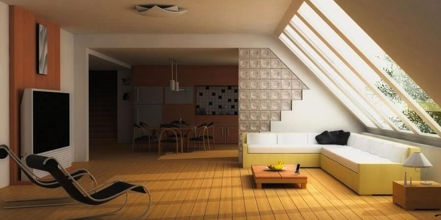 13 airy living room designs with skylights for Skylight designs in living room