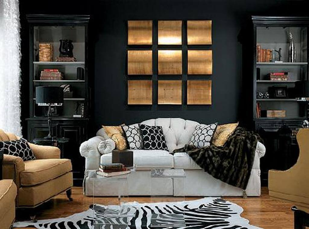 15 paint color design ideas that will liven up your living - Black accessories for living room ...