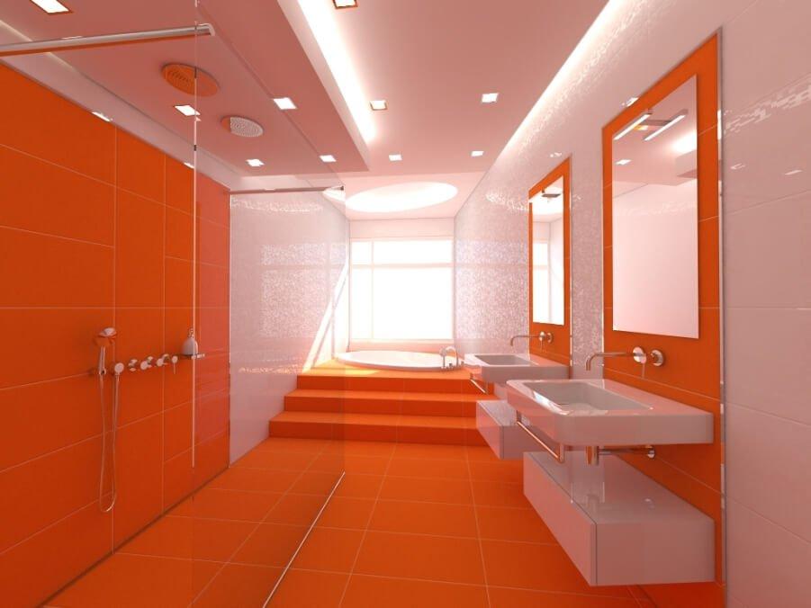 Lively Orange Bathroom