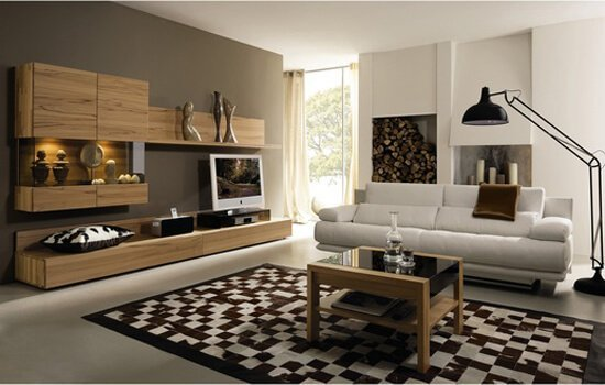 Monochrome themed living room with wood cabinets