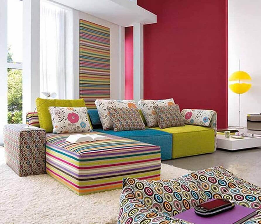 Living room with lots of bright colors and textures
