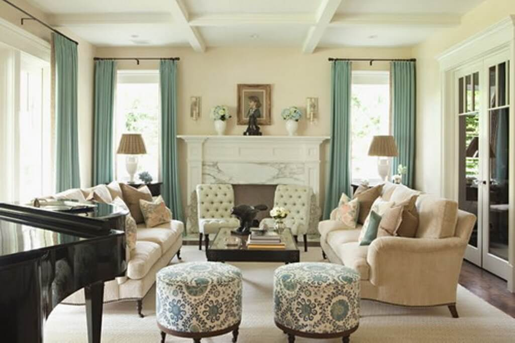 Traditional white themed living room