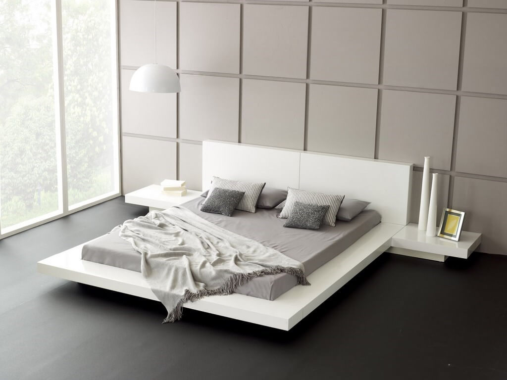 modern-white-bedroom-furniture-with-platform-bed-plus-wall-lamp-decorate-grey-wall-and-black-floor
