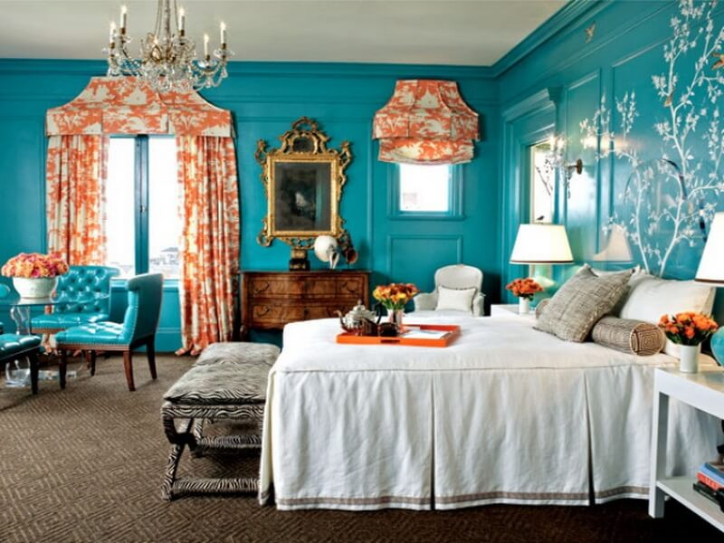10 amazing blue bedroom interior design ideas https for Turquoise wallpaper for bedroom