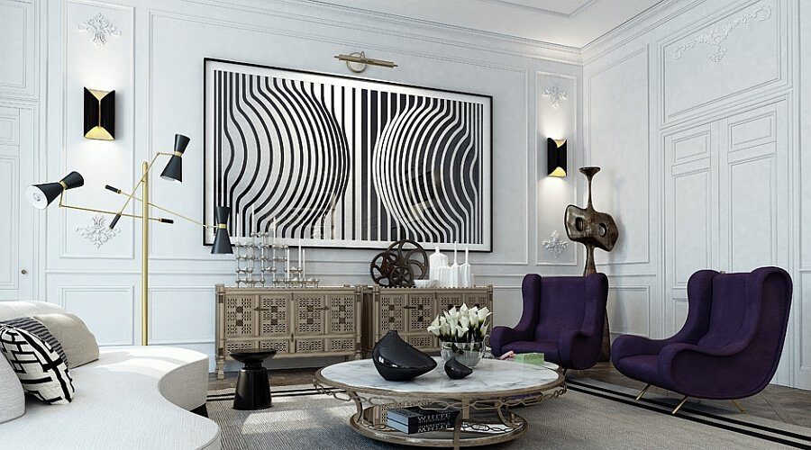 Black-and-white-wall-art-with-beautiful-wall-sconces-next-to-it