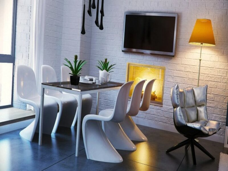 Black-white-yellow-dining-room-665x374