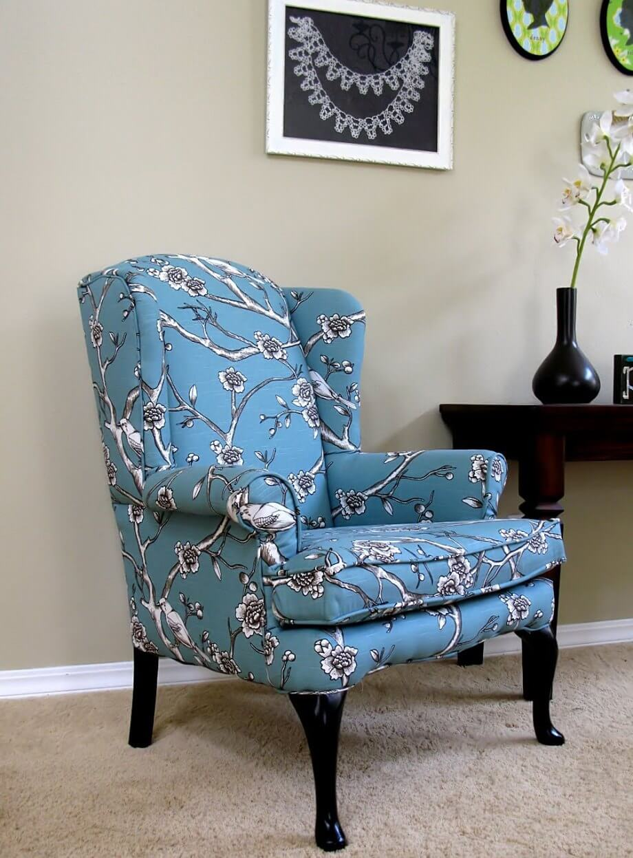 Blue FLoral Wingback Chair