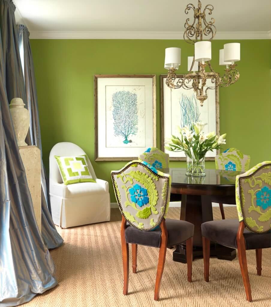 10 fresh green dining room interior design ideas. Black Bedroom Furniture Sets. Home Design Ideas