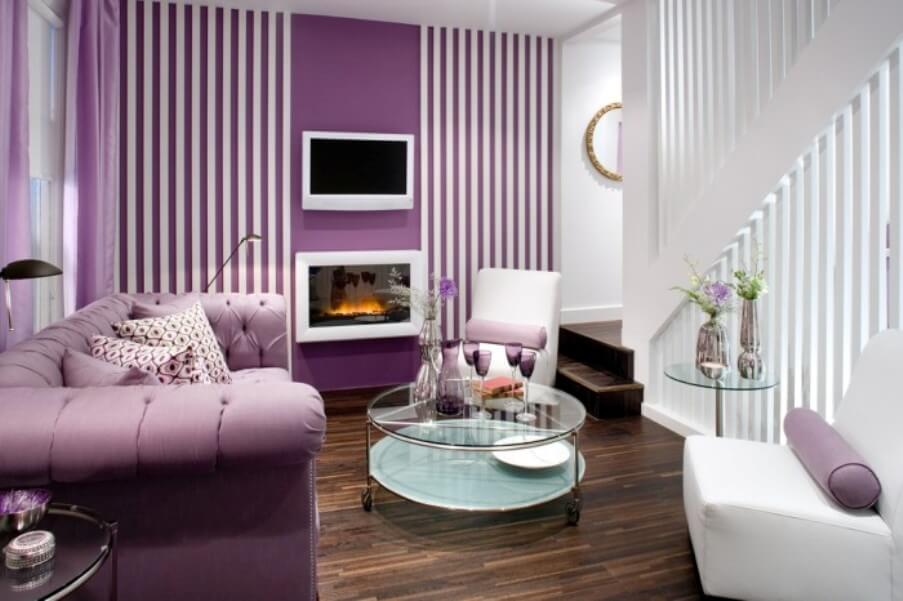 contemporary purple living room trending living room colors - Trending Living Room Colors