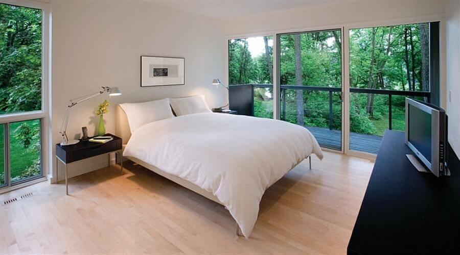 Glass Walls Bedroom