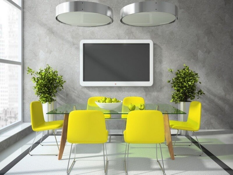 10 sunny yellow interior design ideas https tv wall partition for sitting room and dining room 3d house