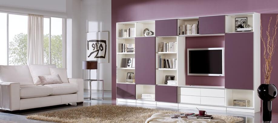 Ivory Purple Living Room