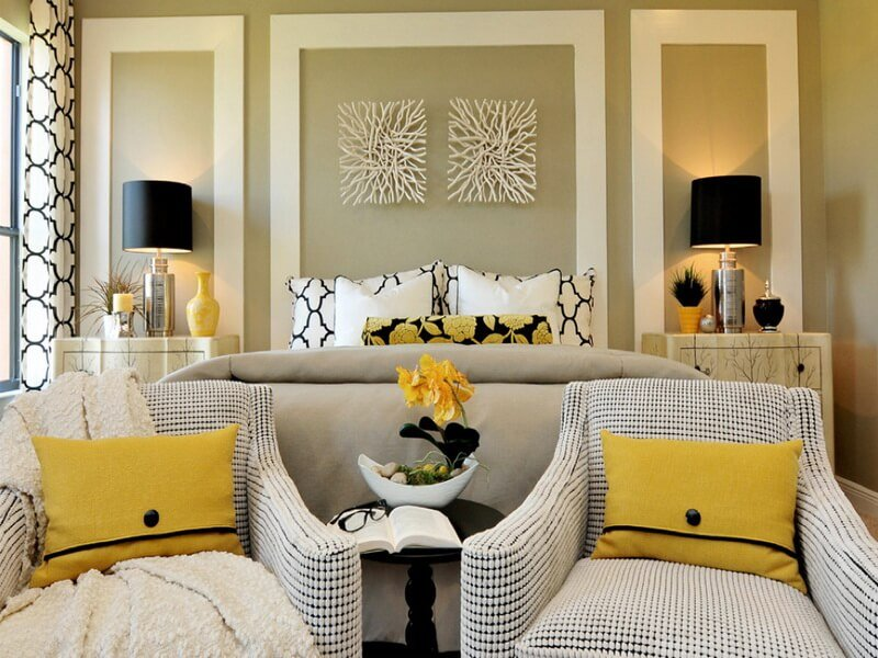 accessories-contemporary-home-design-furniture-design--sweet-yellow-bedroom-idea-grey-blanket-white-chair-with-nice-yellow-pillow-twin