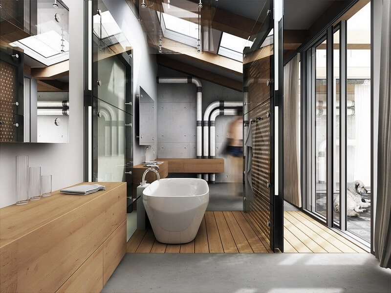 10 modern industrial style interior design ideas https for Bathroom ideas industrial