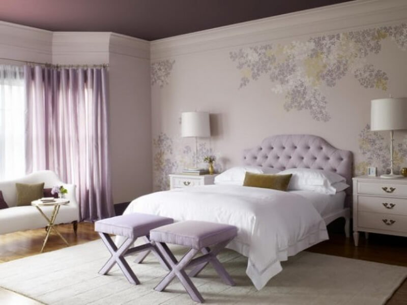 pure-white-wooden-bedroom-furnitures-on-laminate-floor-plus-floral-wall-sticker-also-purple-window-curtains