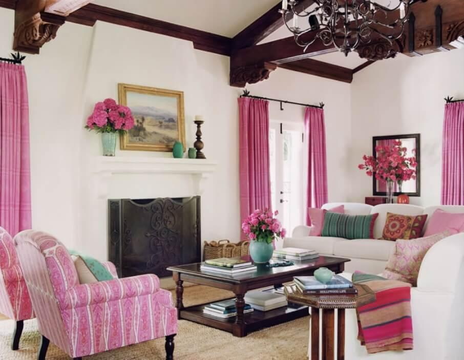 Boho Rustic Pink Living Room