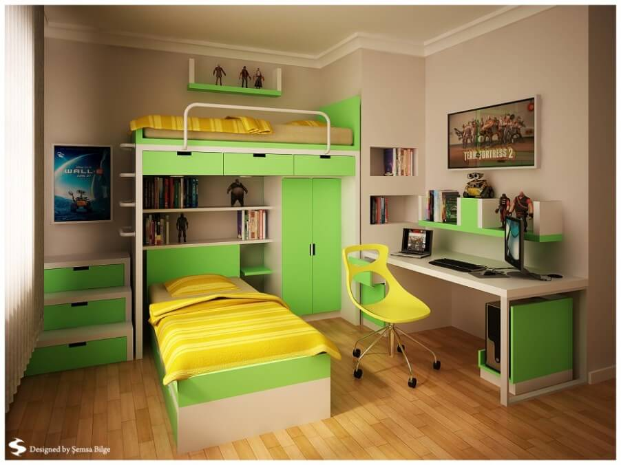 Bold Green Boy's Bedroom