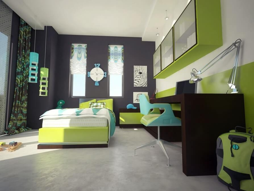 Cool Green Boy's Bedroom