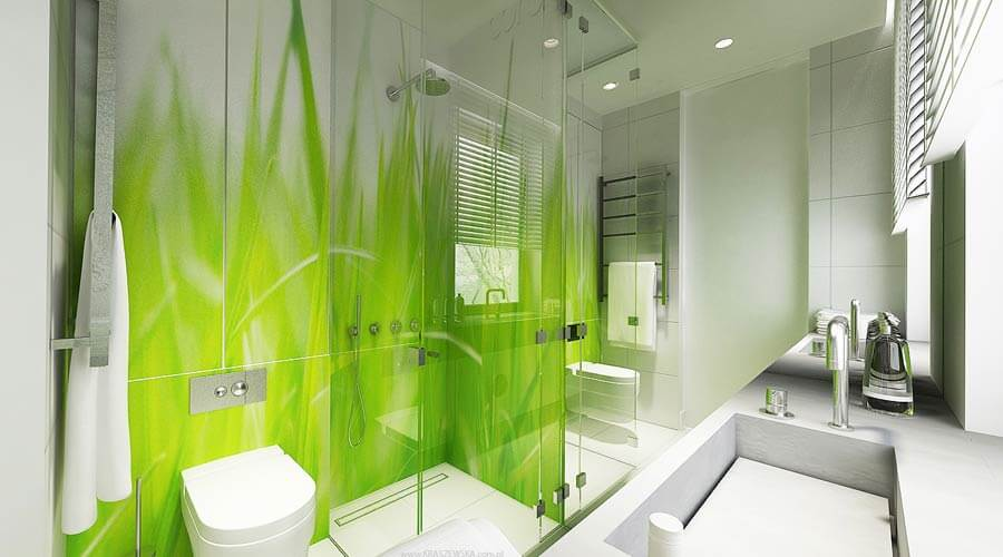10 cheery green bathroom interior design ideas https for Bathroom wall mural
