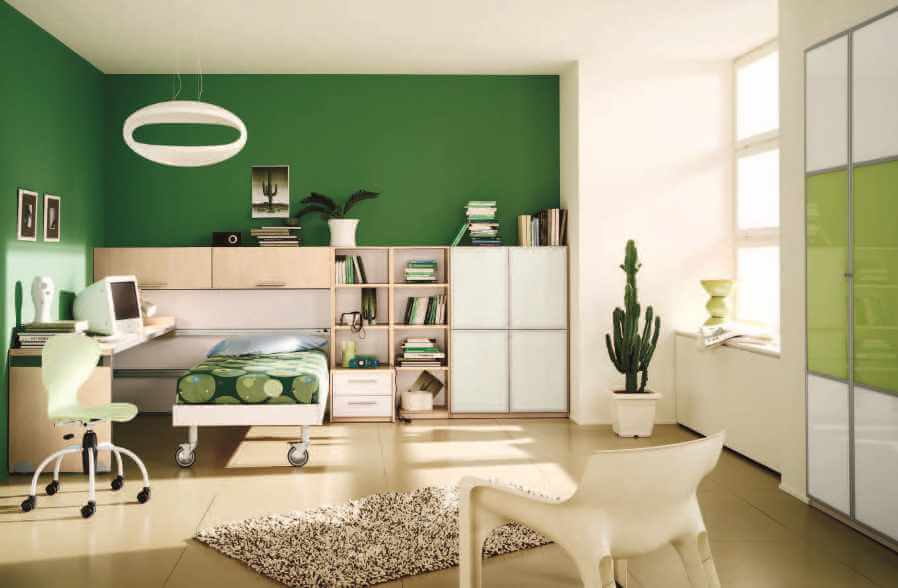 Vibrant Green Boy's Bedroom