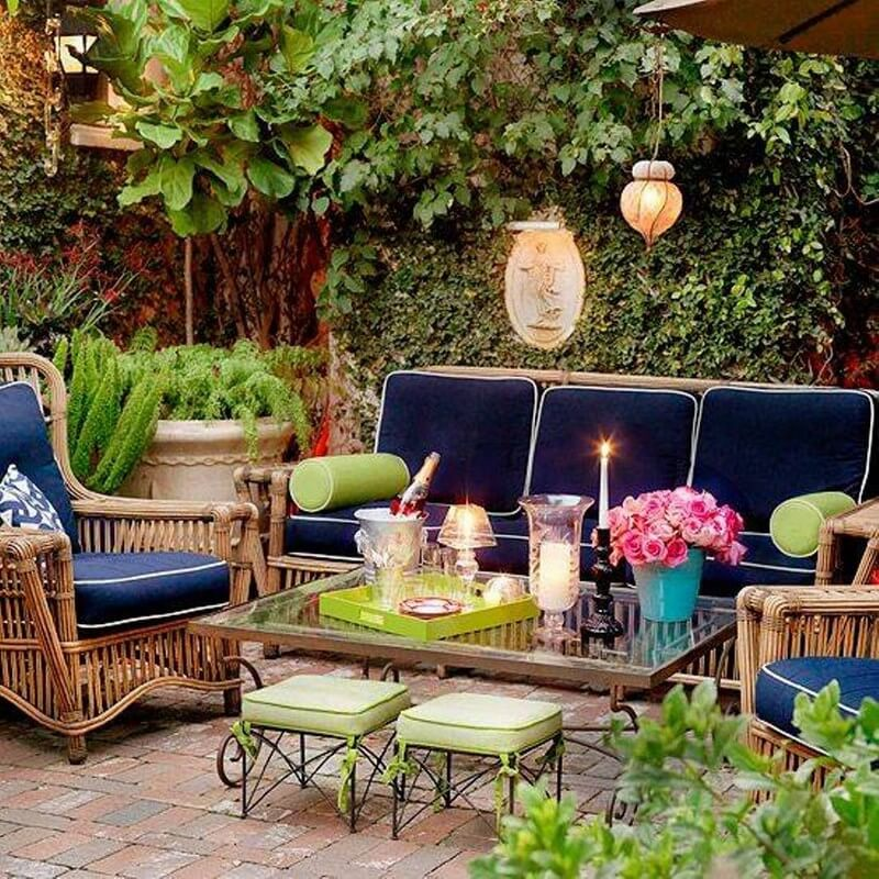 wonderful and relaxing boho chic patio design playful colors cozy