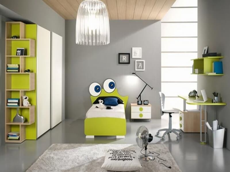 Bedroom-Lovable-Kids-Bedroom-Design-Ideas-In-Gray-Nuance-With-Green-Color-Accent-By-Cute-Frog-Bedmaster-And-Cabinet-Cool-Kids-Bedrooms-For-Small-And-Large-Space-Room-Contemporary-Cool-Bedrooms