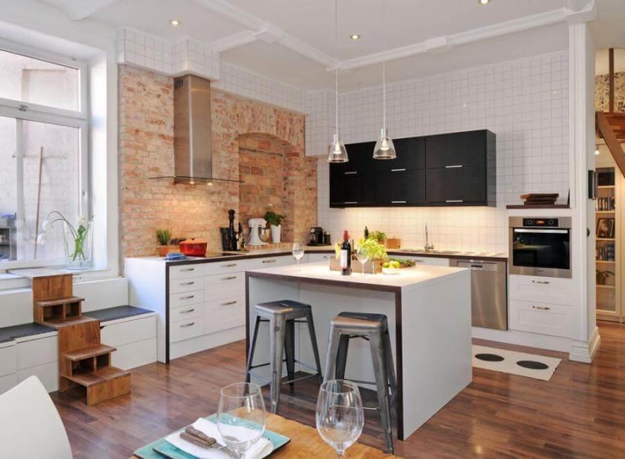 Bright Kitchen with brick Walls