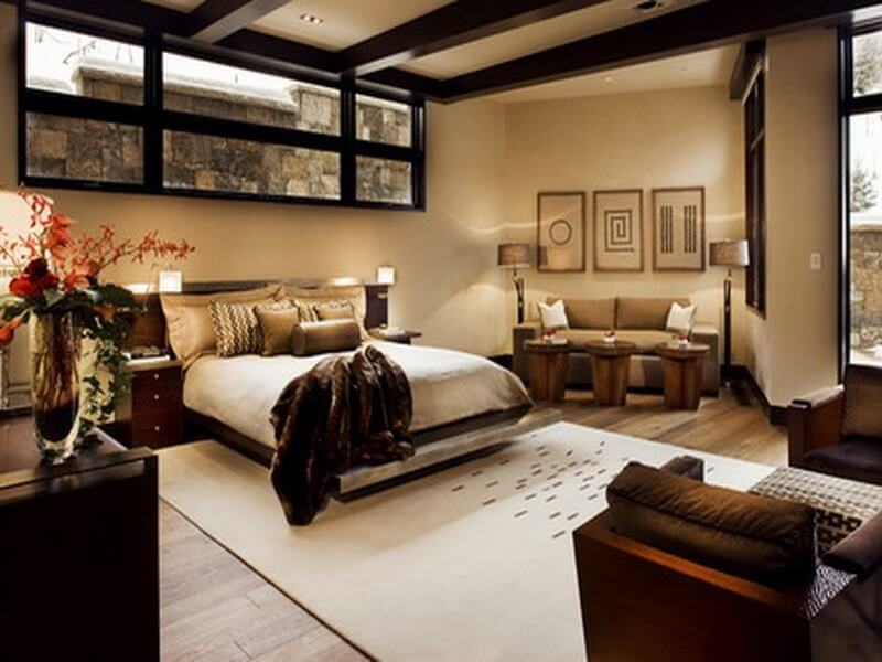 Brown-Bedroom-Painting-and-Corner-Sofa-Sets-in-Contemporary-Bedroom-Design-Ideas