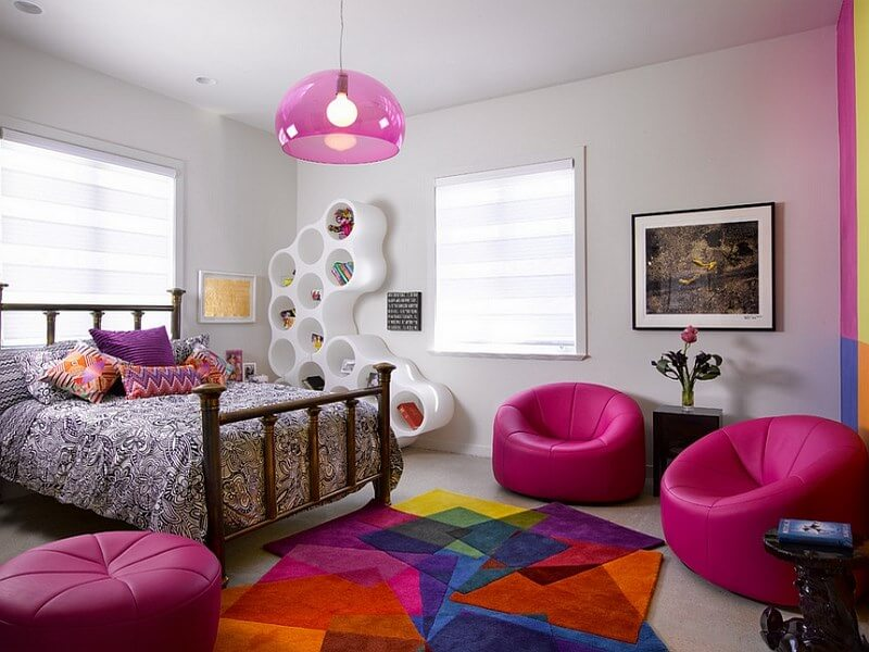 Captivating-Teenage-girls-bedroom-with-a-daring-dash-of-hot-pink-Furniture-and-Chandelier-Lighting-in-Modern-Style