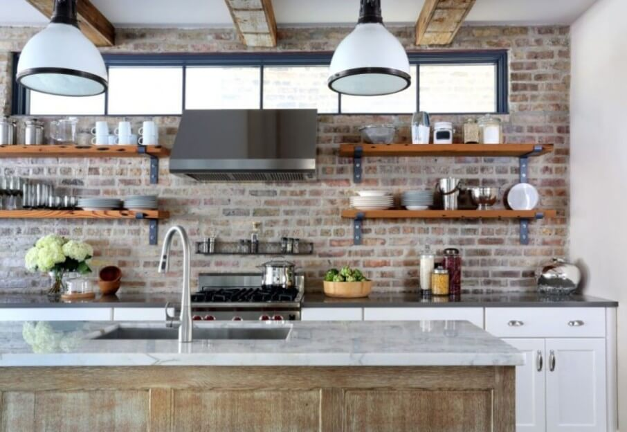 Charming Kitchen with Brick Walls