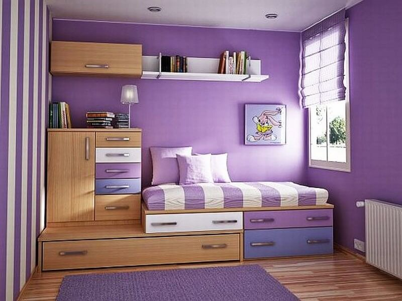 Charming-teenage-girl-room-decorated-with-violet-ideas-and-picture-frame-also-nutbrown-wooden-closet