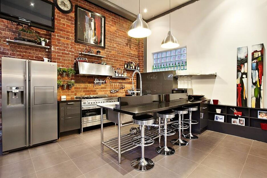 10 cool kitchen interior design ideas with brick walls for Kitchen bricks design