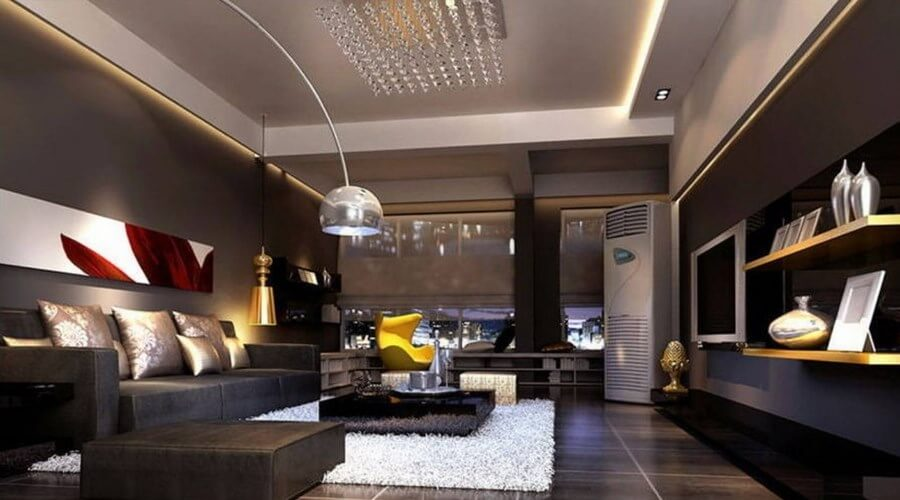 10 stylish dark living room interior design ideas for Room interior images