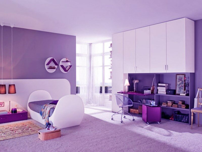 Foxy Room Color Ideas For Teenage Girls With Cute Violet Bed And