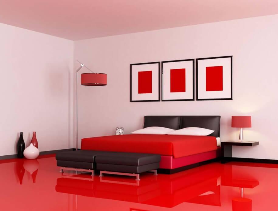 Luxurious Minimalist Red Bedroom