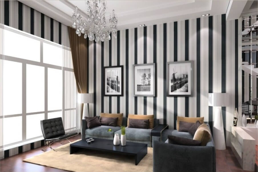 10 modern living room interior design ideas with striped walls - Adorable iconic furniture design adapts black and white color ...
